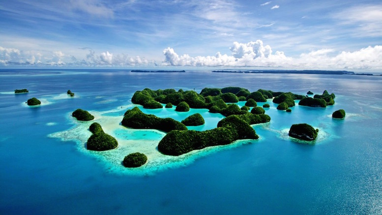 View from above of the many islands of Palau