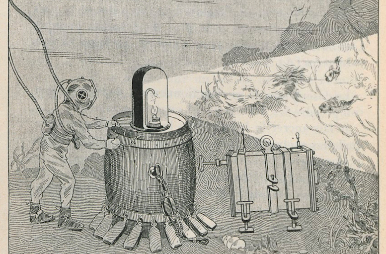 A diagram showing how underwater photographs could be taken using magnesium light © Bibliothèque Nationale de France, Département des Estampes et de la Photographie