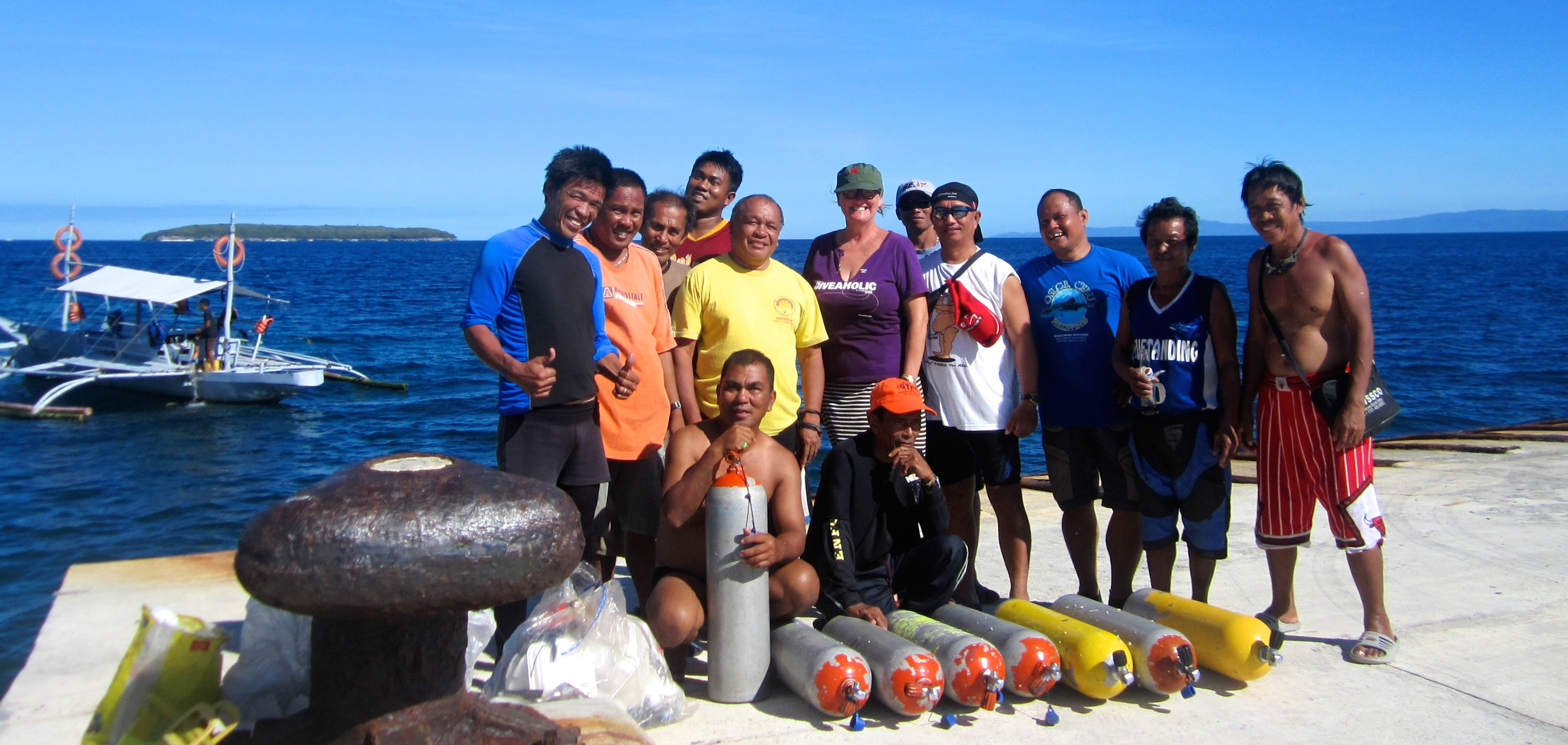 With the Bantay Dagat, or Sea Wardens of Oslob, preparing to place marker buoys in the marine sanctuary of Sumilon Island, Oslob, the Philippines. February 2016.