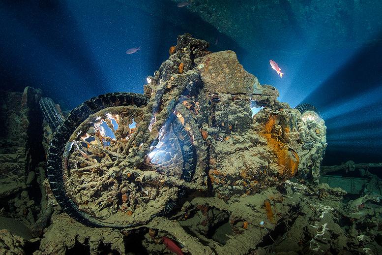 Backlit BSA Military motorbike, Thistlegorm wreck, Egypt. Equipment: Nikon D4 and Sigma 15mm fisheye.
