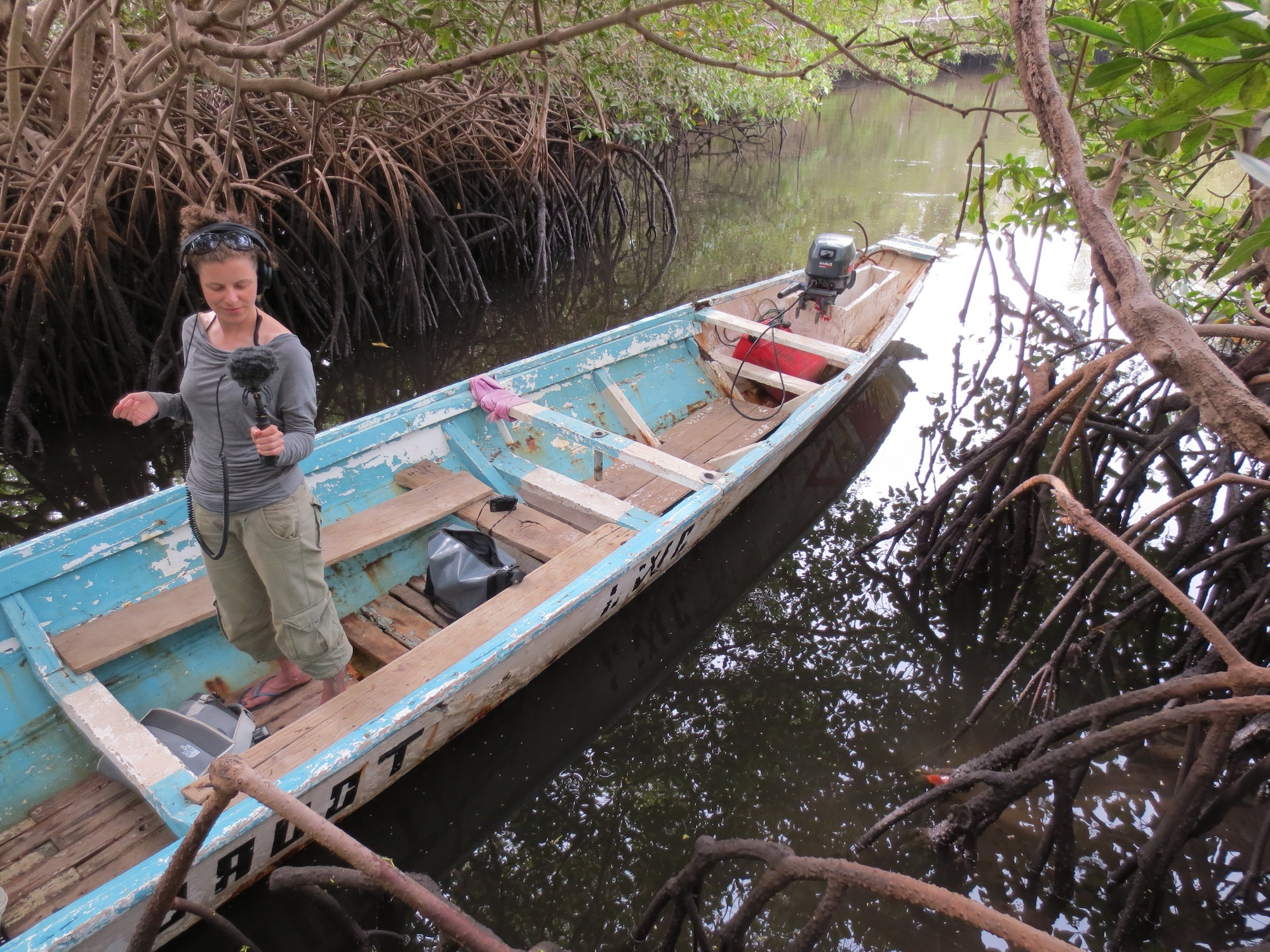 Helen carrying out research within the mangroves