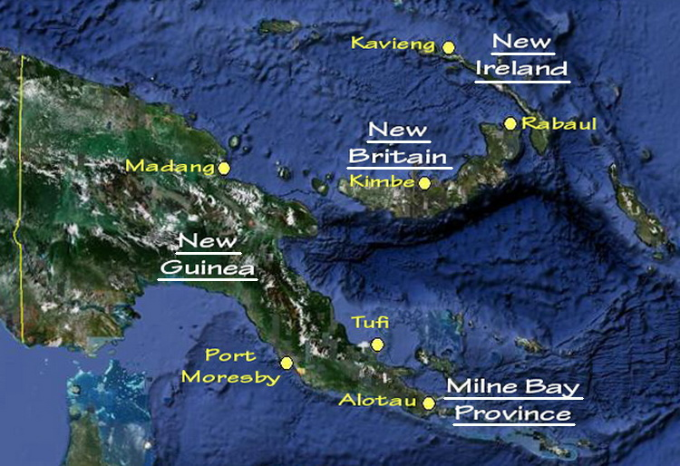 Map of the main scuba diving locations in PNG. Photo courtesy of Indo Pacific Images