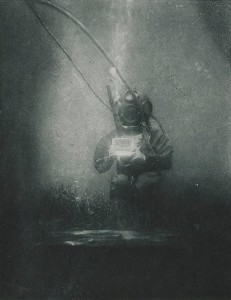 Diver Emil Racovitza photographed in 1899 by Louis Boutan at Observatoire Océanologique de Banyuls-sur-Mer, France