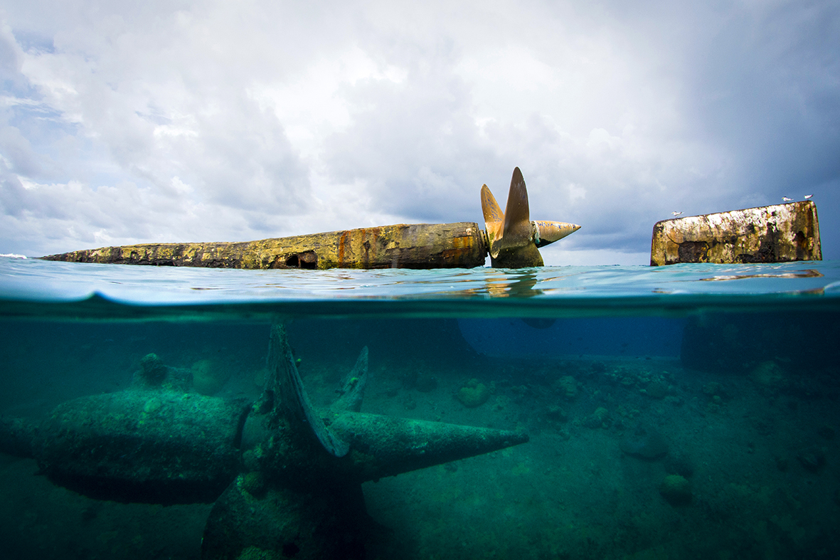The wreck of the Prinz Eugan is one of the iconic dives at Kwajalein © Brandi Mueller