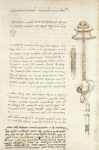 A page from the Codex Arundel, featuring one of da Vinci's sketches of a diving apparatus. © Leonardo da Vinci/Public Domain