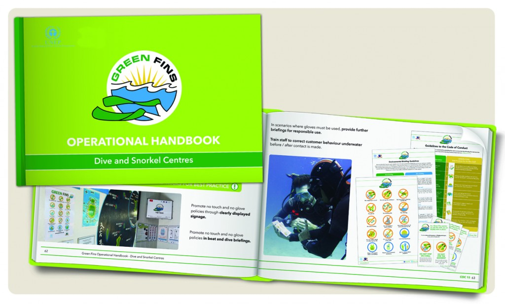 """After stumbling upon the guidance provided by the Green Fins initiative – aimed at building environmental best practice into dive and snorkel operations – Ginette decided to plunge in feet first using the e-Handbook for Dive and Snorkel Centres to do a review on the way she does business."