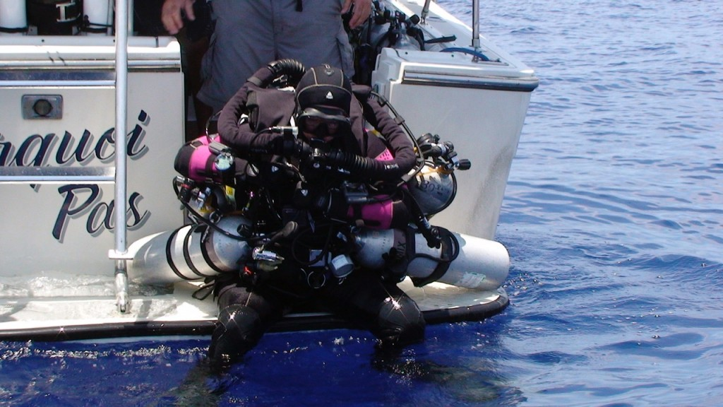 """""""Women were not always welcomed into the extreme circles and I was told that I was 'going too fast' or was 'too big for my britches.'"""" Jill completing the deepest manned dives ever conducted in Bermuda during an NOAA Project"""