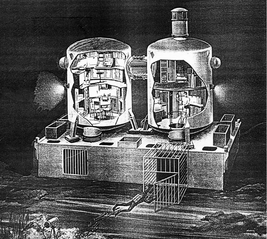 Cutaway view of the Tektite Habitat showing arrangements of the four rooms. Image courtesy of Smithsonian Institution