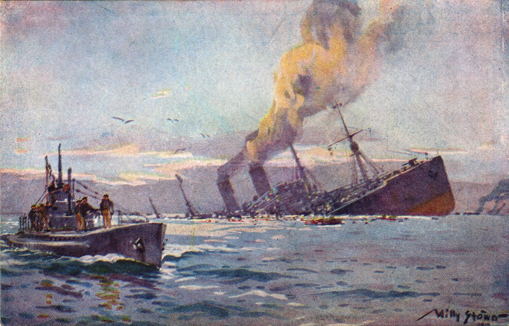 painting of a u-boat sinking a troop transport ship  © wikimedia commons