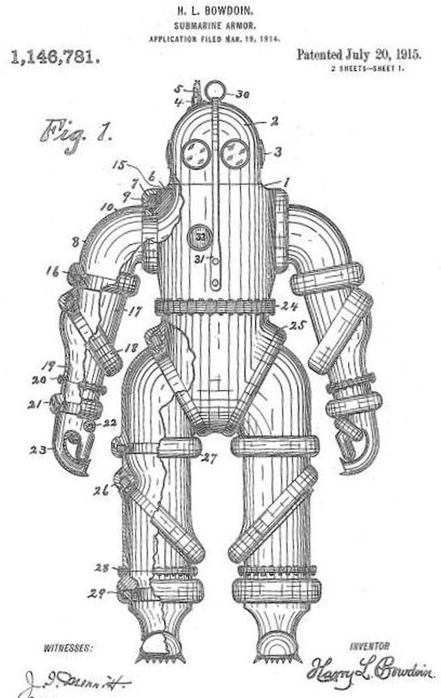 "The application for patent of ""Submarine Armor"" Source: Daily Star, March 30, 1931"