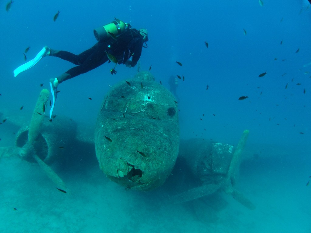 A diver checks out the artificial wreck of a Douglas DC-3. © Wikimedia Commons