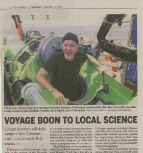 James Cameron emerging from the single-seat Deepsea Challenger